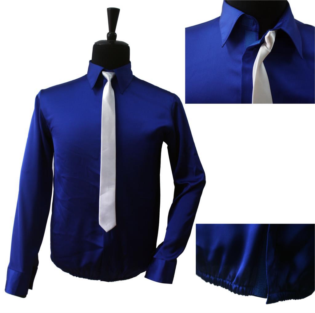 f8c4f7db Retro MJ Michael Jackson Smooth Criminal Bule Shine Shirt & Tie ...