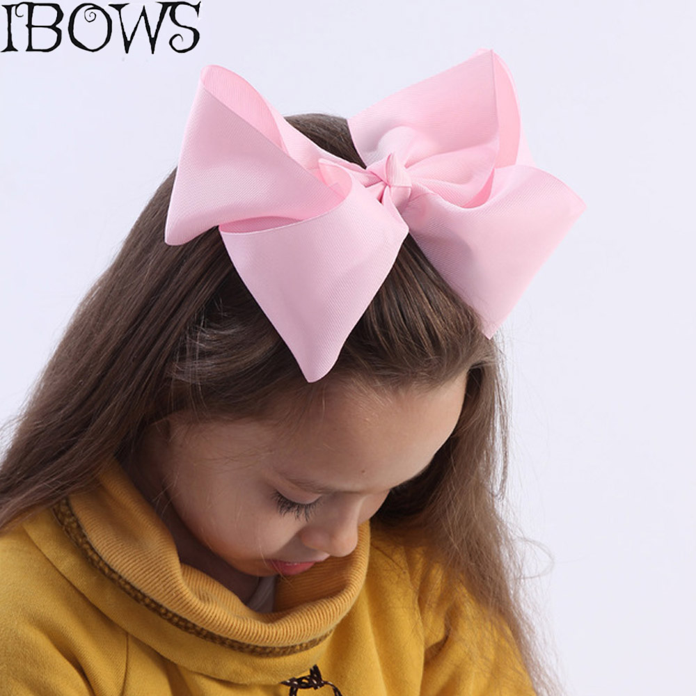60Colors 1Pc Big Hair Bows Boutique 8 Large Solid Grosgrain Ribbon Hair Bow Clips Barrette Bow For Women Girls Accessories 10 inches huge big bow clip boutique hair bows for teens girls kids children women alligator hair clips grosgrain ribbon bows