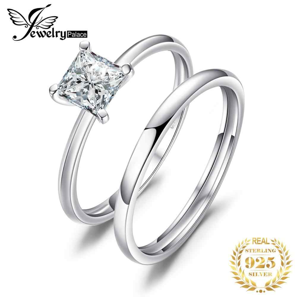 JewelryPalace Cubic Zirconia Wedding Bands Engagement Rings 925 Sterling Silver Bridal Jewelry Ring Sets Anniversary Gifts