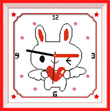 Amour lapin point de croix kit 14ct 11ct compte impression toile horloge murale couture broderie couture à la main travaux manuels(China)