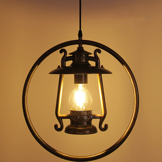 Vintage Metel Kerosene Pendant Lamp Industrial Loft Retro Droplight Bar Cafe Bedroom Restaurant Light E27 90-240V