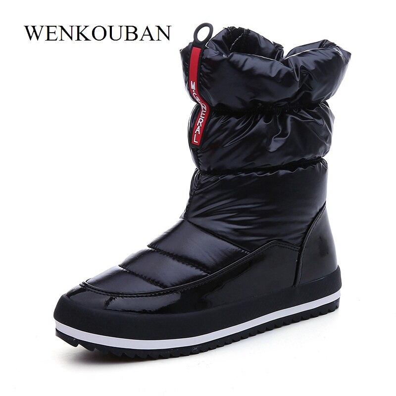 Купить Теплые зимние ботинки, женские зимние Ботинки, Ботильоны на  платформе, непромокаемая обувь на пуху, плюшевая стелька, Bota Feminina,  черный цвет Цена ... aa757dd1b51
