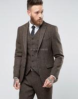 2018 New Custom Made Costume Homme Ternos Slim Fit Winter 3 Piece Men Suits Business Groom Tuxedos Wedding Tweed Suit