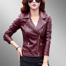 Chaqueta mujer Autumn Motorcycle Plus size Leather Jacket 2018 Women Fashion New Style Body Wash Skin Black PU Parka 793