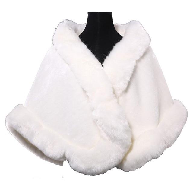 Elegant Winter Wedding Shawl Shrug White Faux Fur Wrap Grace Karin Ivory White Wedding Bolero Fur Coat Wedding Bridal Jacket