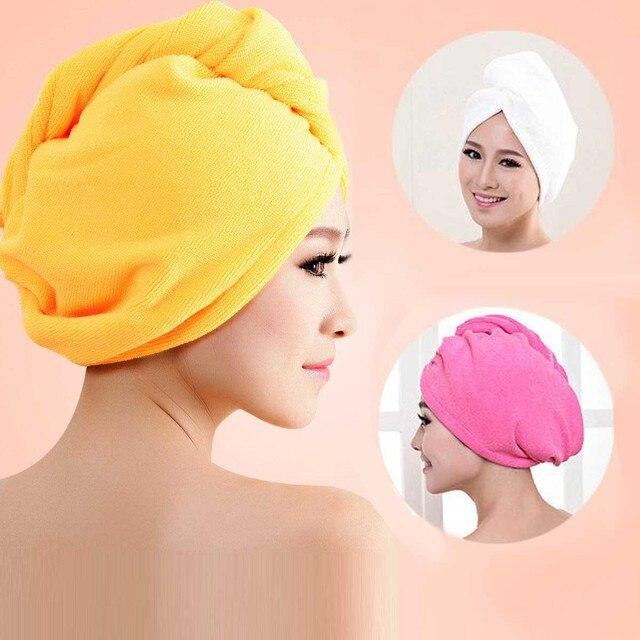 Hair Drying Towel Turban Bath Cap Hat Washcloths Bath Plush Microfiber