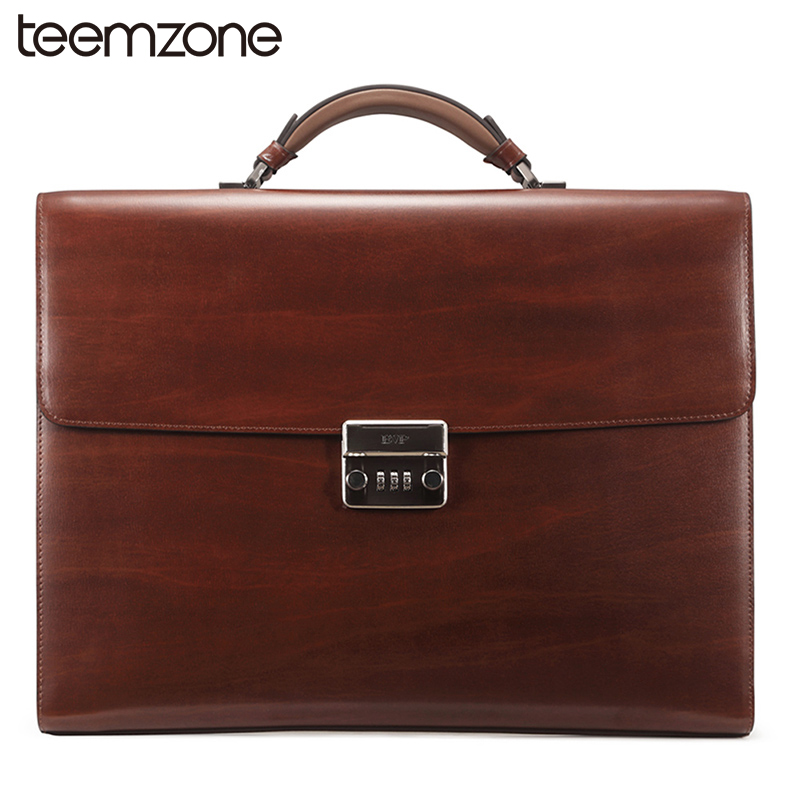 teemzone 14Laptop Mens Genuine Leather Vintage Password lock Business Lawyer Briefcase Messenger Totes Portfolio Brown T1016