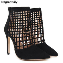 447e2f9f1cee FragrantLily Roman Women Pumps New Style Booties Ladies Sexy Hollow  Gladiator High Heels Woman Ankle boots