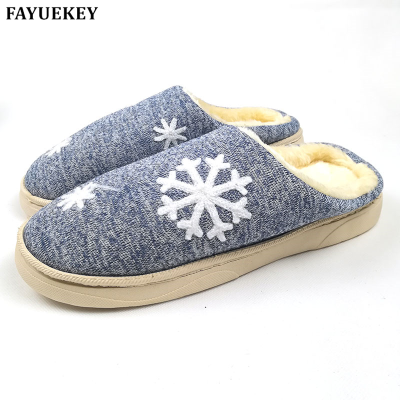 FAYUEKEY Autumn Winter Cotton Plush Home Christmas Snow Lovers Slippers Indoor\Floor Outdoor Thicken Warm Slippers Flat Shoes vanled 2017 new fashion spring summer autumn 5 colors home plush slippers women indoor floor flat shoes free shipping