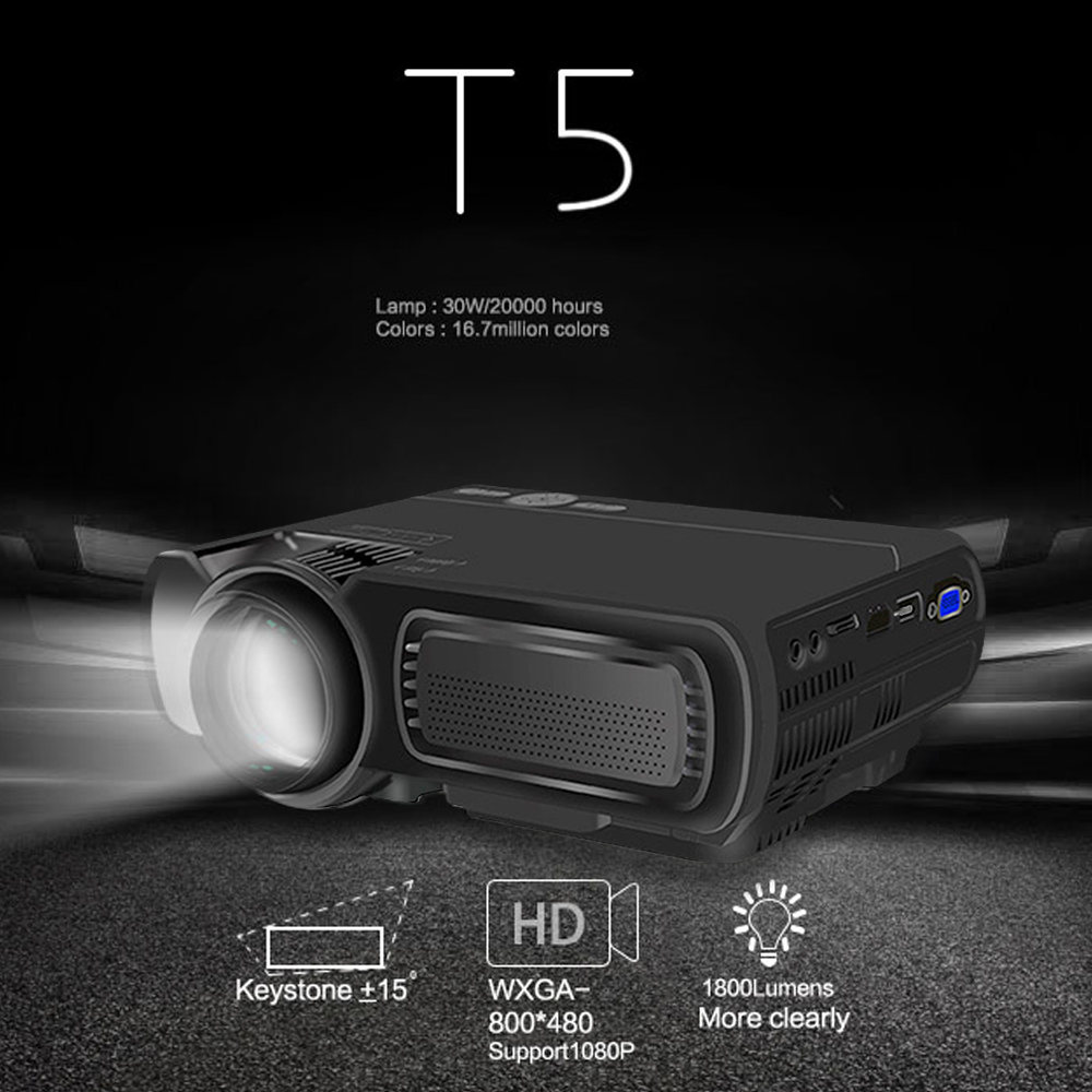 Cewaal T5 1080P HD US Plug Projector 3D AV/VGA/HDMI/USB/TF Standard Home Theater Projector LCD Technology Precise Focus rd 802 24w led hd home mini projector w hdmi vga usb remote control blue us plug