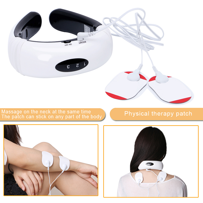 New Electric Pulse Back Neck Massager Cervical Vertebra Treatment Instrument Therapy Hot Sale 2017 hot sale mini electric massager digital pulse therapy muscle full body massager silver