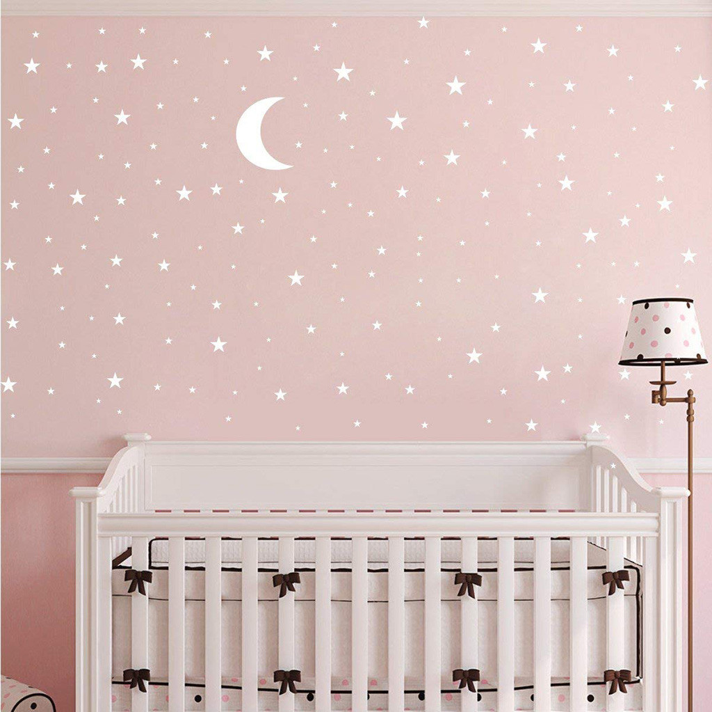 US $17.17 17% OFFMoon And Star Wall Stickers For Kids Boy Girls Baby Room  Decoration Creative Decals Nice Home Decoration Deco Chambre FilleWall