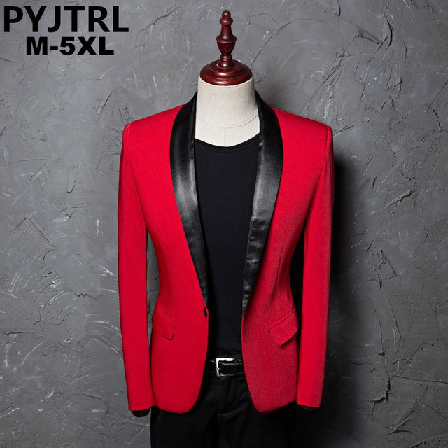 PYJTRL Mens Red Shawl Collar Single Button Suits Jacket Wedding Party Business Casual Blazer Coat Masculino Slim Fit Men