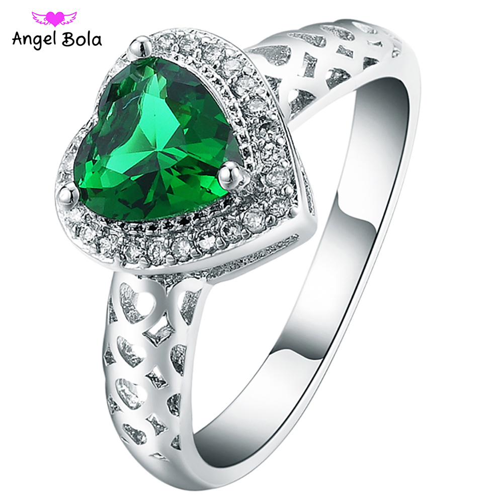 Fashion Lovers Ring Wedding Engagement Party Jewelry Ring Heart Shaped 925 Sterling Silver Ring R-018