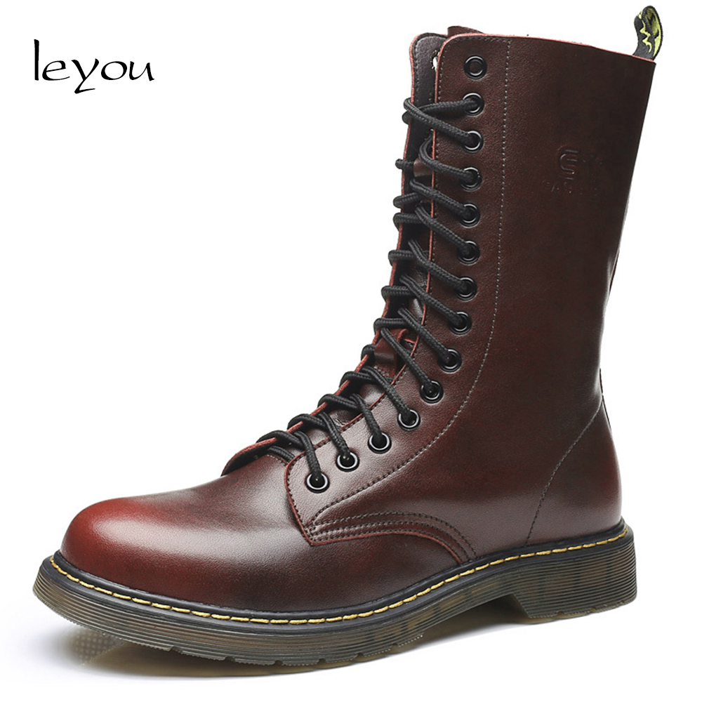 Leyou Brand Vintage Military Boots Men High Boots Leather Genuine Shoes Men Motorcycle Boots Riding Man