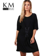 Kissmilk 2017 Big Size New Fashion Women Clothing Casual Brief Solid Tied Loose Summer Dress O-Neck Plus 4XL 5XL 6XL