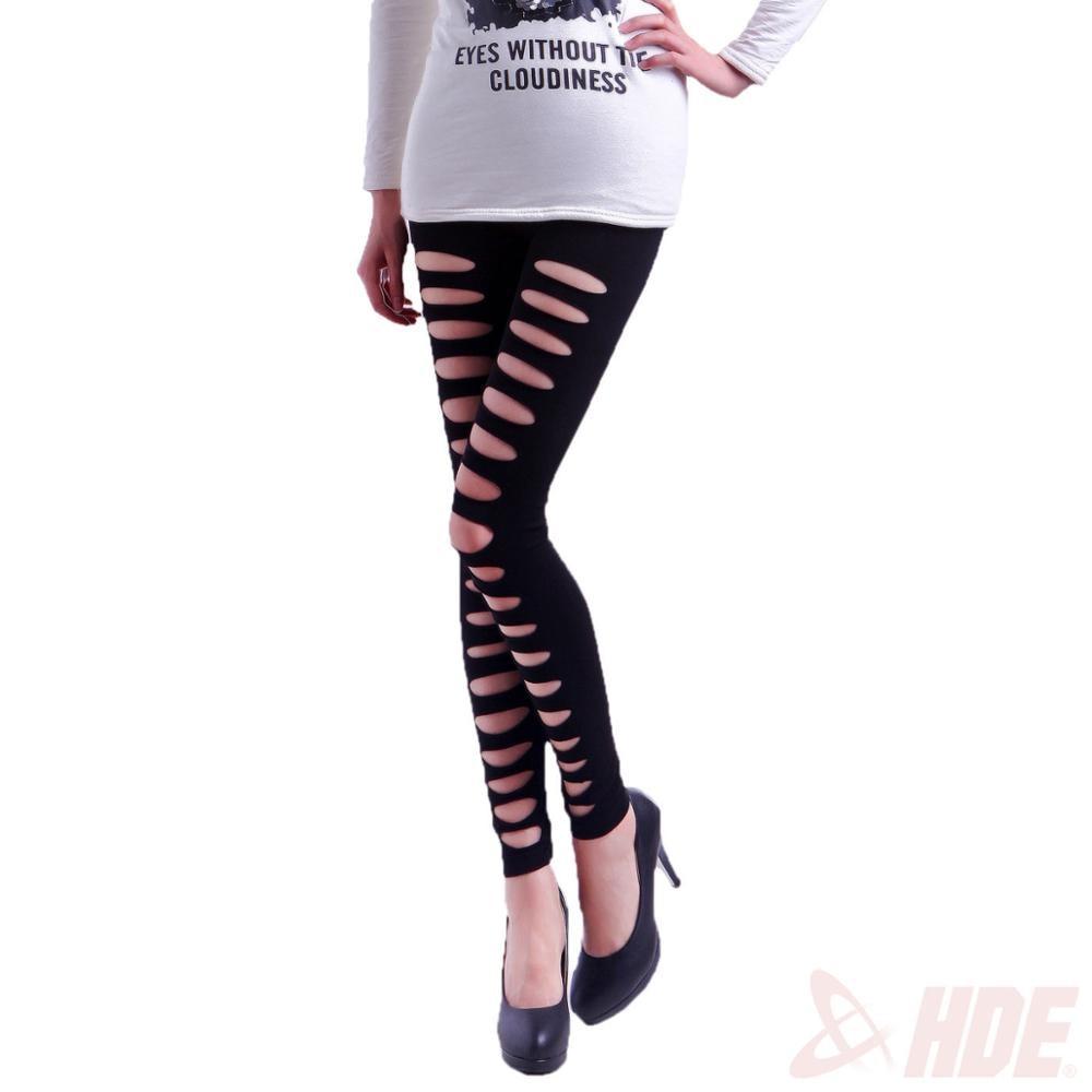 a4c6512e19e MINSUNDA New fashion HIgh Street Mid Waist Black Ripped Seamless Front Hole  Sexy Leggings For Women s Slim Pants Fishnet