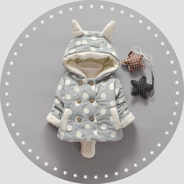 Inverno Do Bebê Meninas Crianças Crianças Double Breasted Polka Dot Ouvido Com Capuz Engrosse Brasão Jacket Outwear Presentes de Natal Casacos S4247