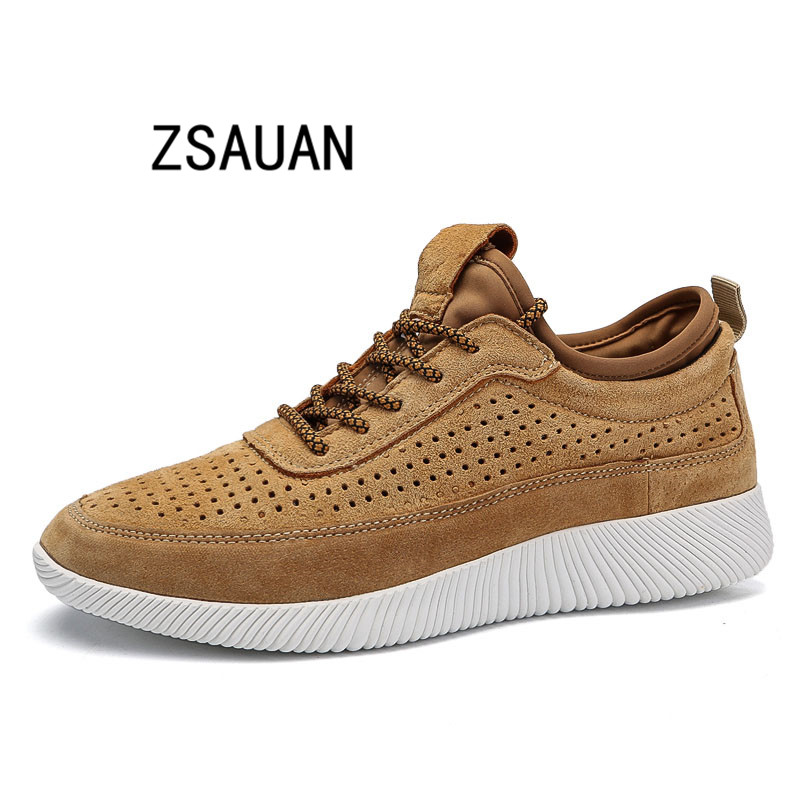 ZSAUAN Summer Men Casual Shoes Hollow out Air Breathable Soft Men Trend Sneakers Genuine Pig Leather Lace up Men Loafers