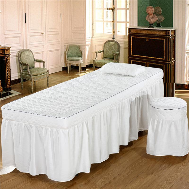 Soft Beauty Salon Thicker Bed Skirt Solid Color Bed Spread for Hairdresser Esthetic Salon multiple colour