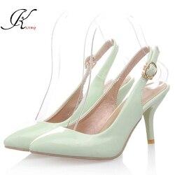 KSJYWQ 2017 D'été Style 5 cm talons Menthe vert Femmes Pompes plus la taille 43 Sexy filles Grandes chaussures Femme Pas Cher boutique en ligne 9040