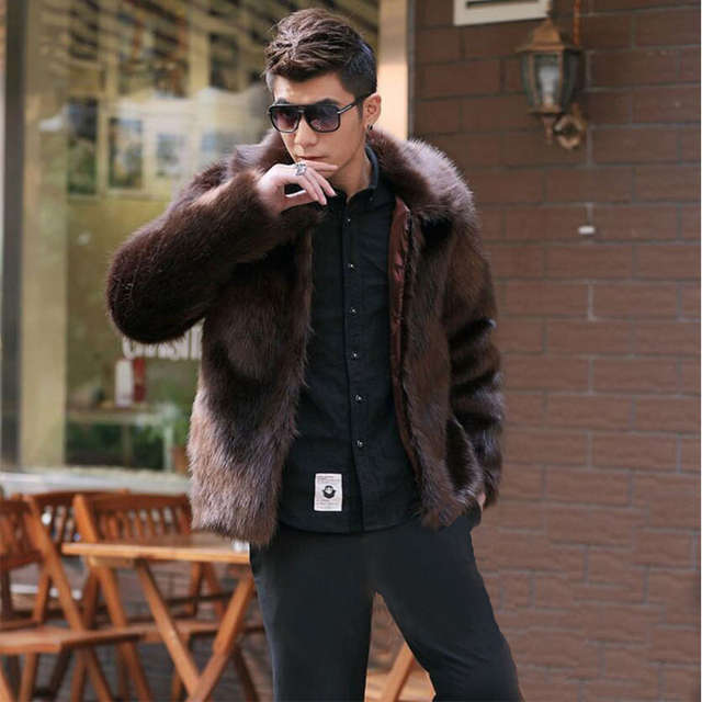 Hot sale new winter fashion men faux fur coat,Men high end fox fur turn down collar leathet jacket,Leisure Loose Plus size S~4XL
