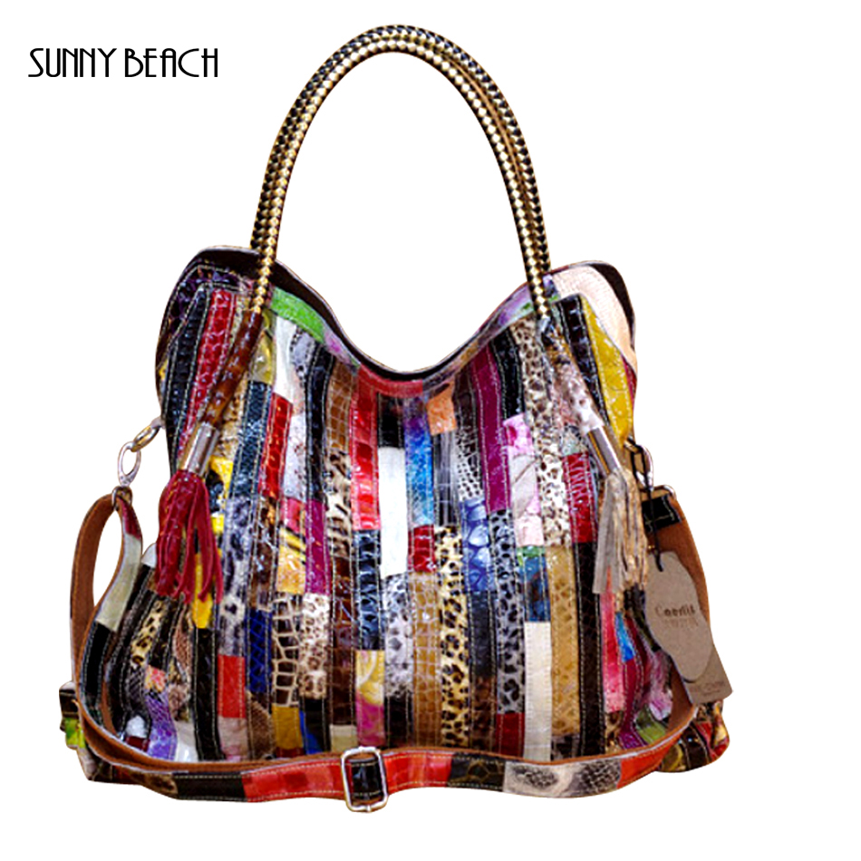 SUNNY BEACH Famous brand Genuine Leather snakes with colourful stripes women handbag single shoulder bag