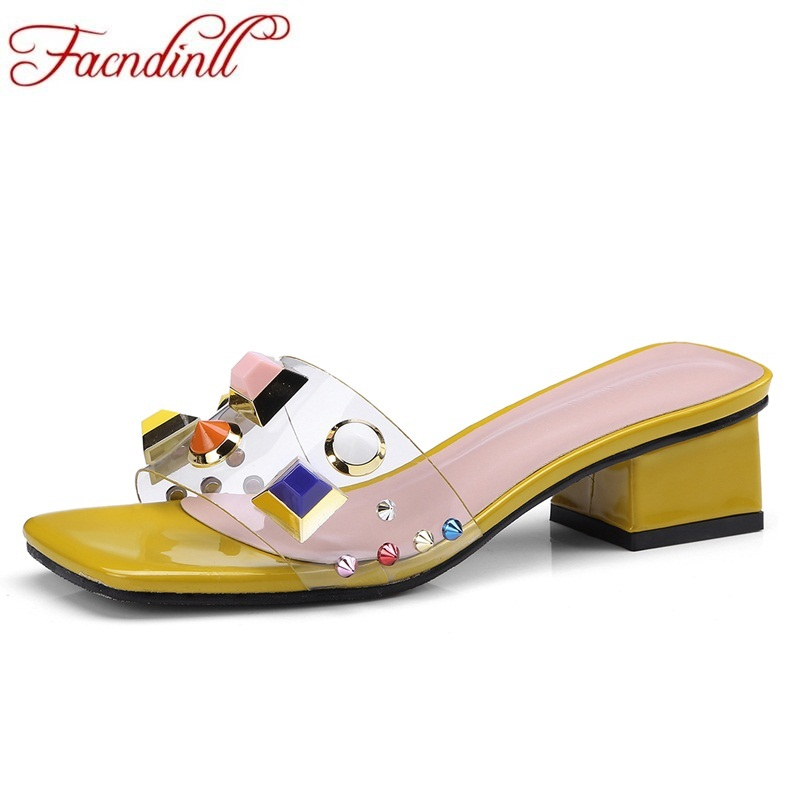 FACNDINLL new fashion summer slipper woman sandals middle heels simple open toe shoes la ...