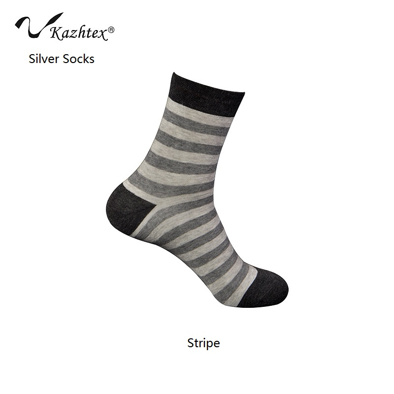C420130 Kazhtex Pánské stříbrné vlákno Antibakteriální ponožky Ležérní ponožky Prodyšná deodorace 3pairs = 1Lot