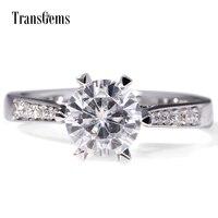 TransGems 1 Carat Lab Grown Moissanite Diamante Anniversario di Matrimonio Halo Anello White Sapphire Accenti 14 K Oro Bianco per le Donne