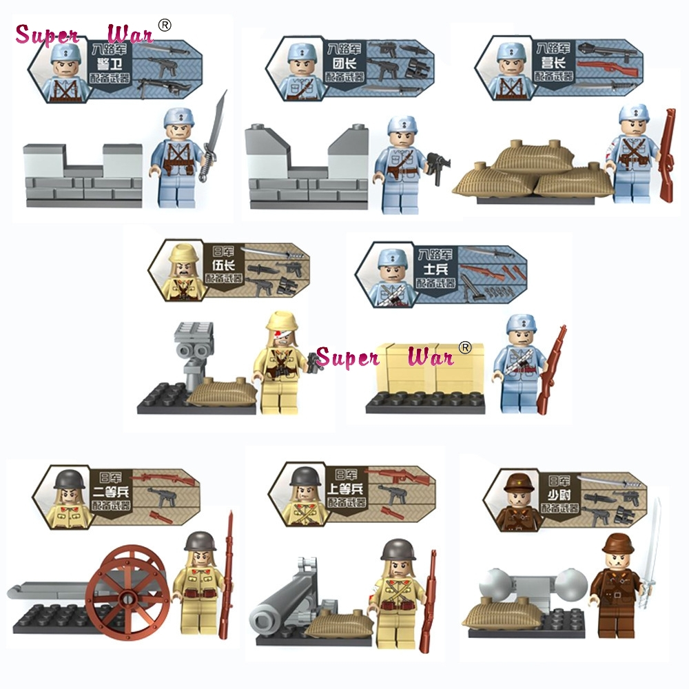 80pcs World War 2 Military Army China Japan Soldier weapon building blocks bricks friends for games kids children toys