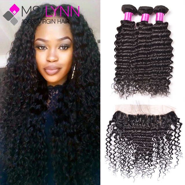 Ear To Ear Lace Frontal Closure With Bundles Brazilian Deep Wave With Closure Cheap Human Hair Deep Wave Frontal With Bundles
