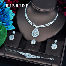 HIBRIDE Luxury Gold Color 4 pcs Set CZ Jewelry Sets For Women Wedding Necklace Earring Ring Bracelet Jewelry Accessories N-751(China)