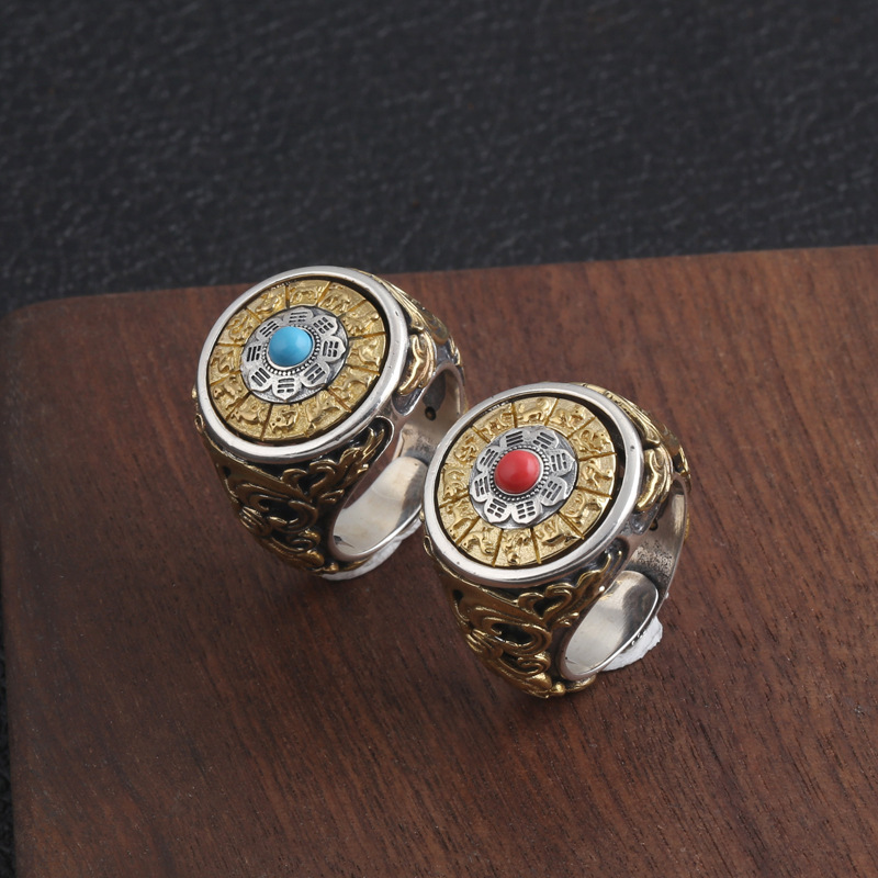 Bouddha tibétain 925 bijoux en argent Sterling Six mots Mantra anneaux avec des pierres pour les femmes et les hommes OM Bagua rotatif