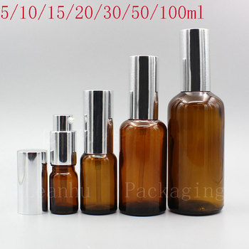 Brown Lotion Cream Pump Bottle,Empty Emulsion,Essence Cosmetics Packaging Container,Latex Vessel personal care Makeup Containers