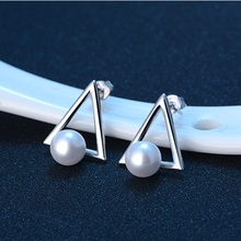 JEXXI Geometric Triangle Shape Simple Silver Plated Imitation Pearl Stud Earrings For Women Fashion Ear Jewelry Accessories