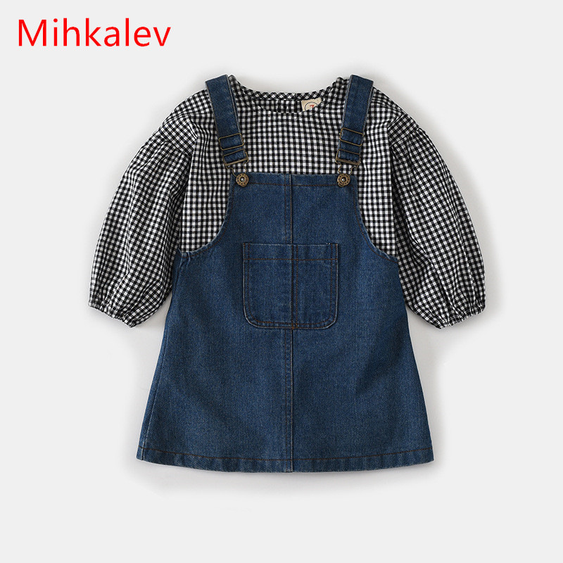 Mihkalev 2017 cotton kids girls autumn sets clothes long sleeve t shirt + jeans dress litter girl clothing set for birthday wear mihkalev striped long sleeve girl dress kids clothes 2017 autumn princess dres for girls party clothing children tutu dress