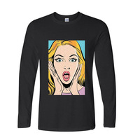 2017 Hot High Quality Cotton Pop Art Female Printed OMG amazed girl funny long sleeve t shirt men