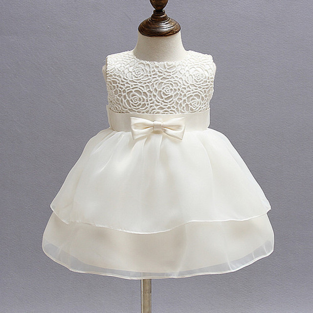 367dff975 1 Year Old Baby Girl Dress Bow Beige Princess Birthday Formal ...