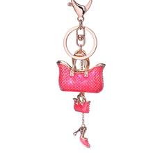 Novelty Rhinestone Women Handbag Keychains Shoes keyring Crystal car Key Rings Holder Charm bag Pendant Jewelry gift R009