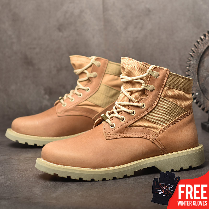 OSCO Autumn Winter Genuine Leather Ankle Boots Men Martin Boots Lace Up Outdoor Casual Men Winter Shoes Botas Homme mulinsen latest lifestyle 2017 autumn winter men