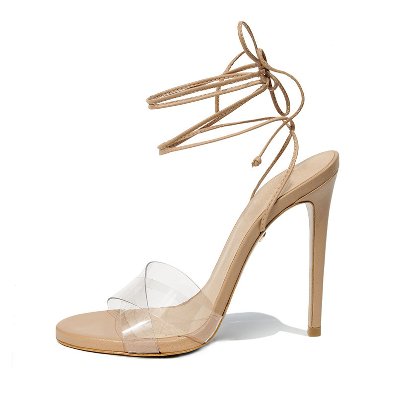Carole Levy 2019 New Women Summer Shoes Ankle Strap Cross-tied PVC Clear Sexy Female Pumps Women Stilettos Rome Style SandalsCarole Levy 2019 New Women Summer Shoes Ankle Strap Cross-tied PVC Clear Sexy Female Pumps Women Stilettos Rome Style Sandals