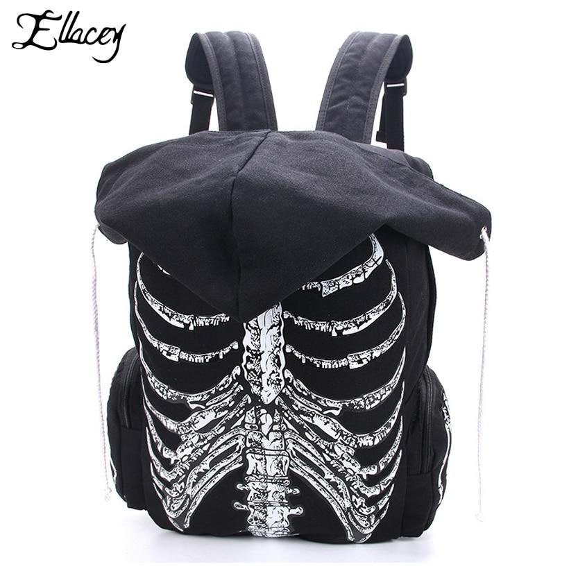 Ellacey 2018 Canvas Backpack Men Women Skull Bone Print Backpack Hood Black Canvas School Bag Fashion Outdoor Large Backpack цены онлайн