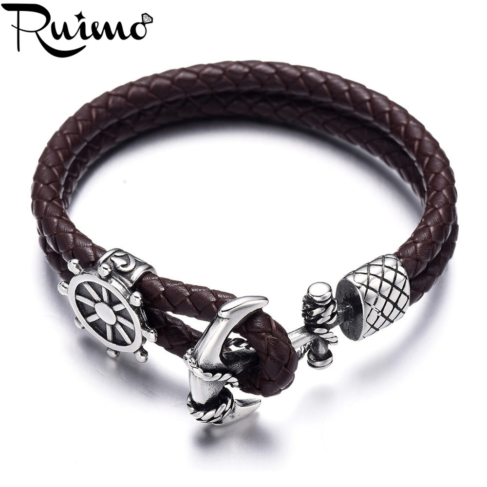 RUIMO Anchor Bracelet 316l Stainless Steel Survival Clasp Nautical Genuine Braided Leather Bracelet Men Wrap