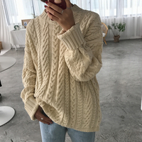 Korean Retro Hemp Flowers Knitted Sweaters Women Casual Round Neck Loose Long Sleeve Sweater Female Solid Color Oversize Jumpers