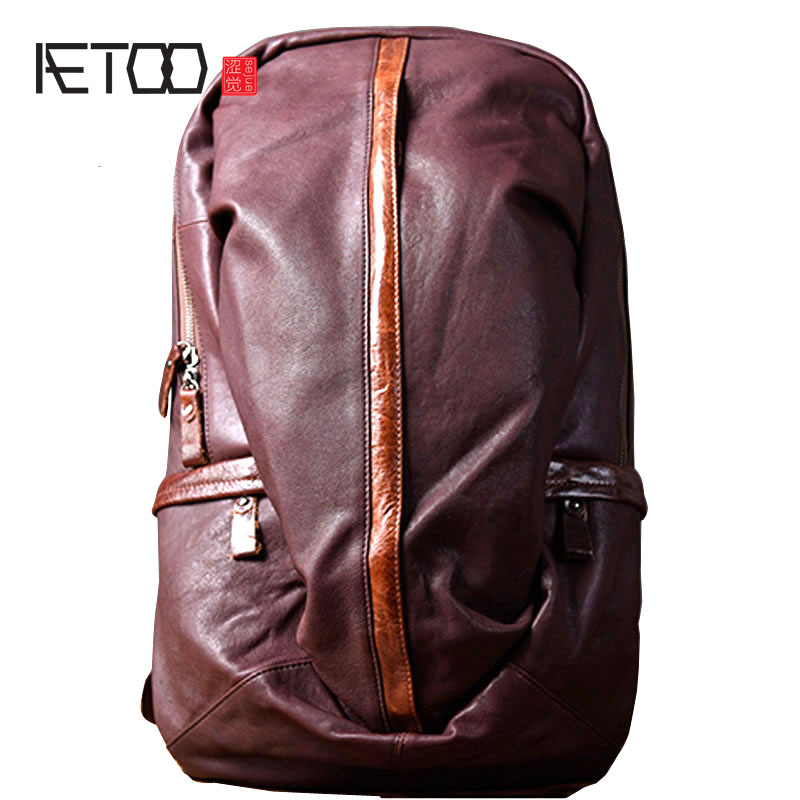 AETOO Leather backpack leisure travel backpack first layer leather bag fashion men's large capacity travel bag aetoo original backpack men leather casual travel backpack lady first layer leather handmade