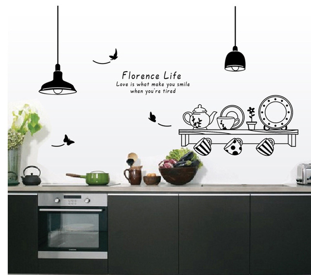 Hot Florence Life Kitchen Wall Stickers Cooking Tools Bottle Pattern Sticker Diy Decoration