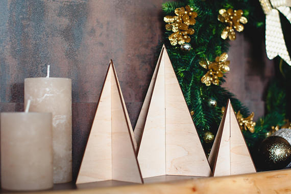 wooden christmas tree made of plywood in natural color christmas table decoration stylish home decor for new years eve in trees from home garden on - Wooden Christmas Table Decorations