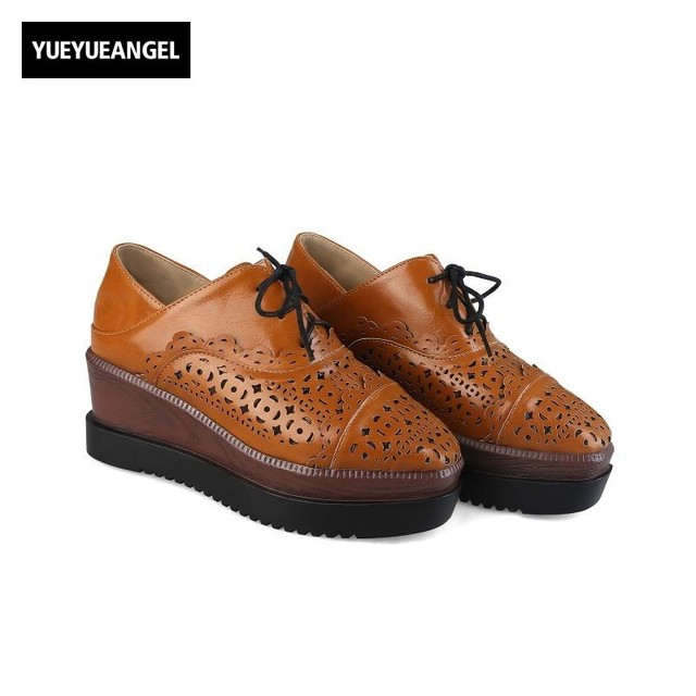 Retro Hollow-out Lace-up Leather Shoes sale hot sale shipping outlet store online uFPkLZi8J