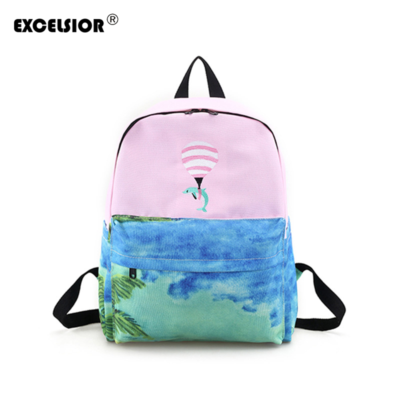 EXCELSIOR 2018 Fashion Female bag Quality Embroidered canvas bag Women's bag Backpacks Cute Animals dolphin School Baby Backpack